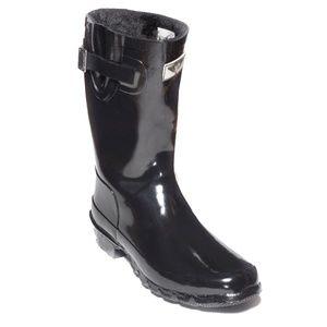 Women Mid Calf Lined Rain Boots, #1502, Fur Black